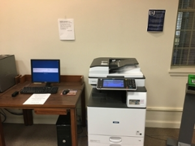 Print Station in Library Reference Desk area